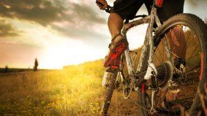 rowerzysta jeżdżący po pagórkach